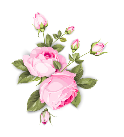 Illustration pour Spring flowers bouquet of color bud garland. Label with rose flowers. Vector illustration. - image libre de droit