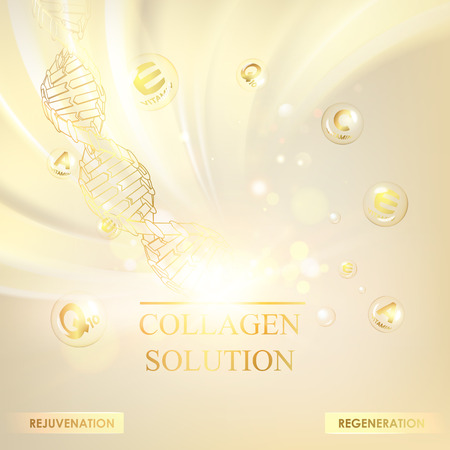 Illustration pour Concept Skincare Cosmetic. Regenerate cream and Vitamin Background. Sepia banner with a DNA molecule of polygons. Vector illustration. - image libre de droit