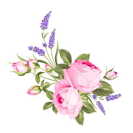 Illustration pour Wedding flowers bouquet of color bud garland. Label with rose and lavender flowers. Vector illustration. - image libre de droit