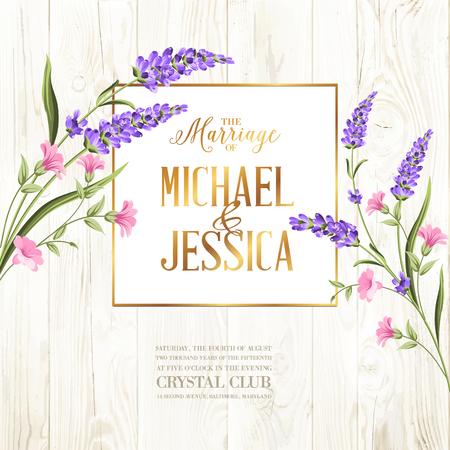 Illustration pour Printable vintage marriage invitation with flowers over wooden pattern. Vector illustration. - image libre de droit