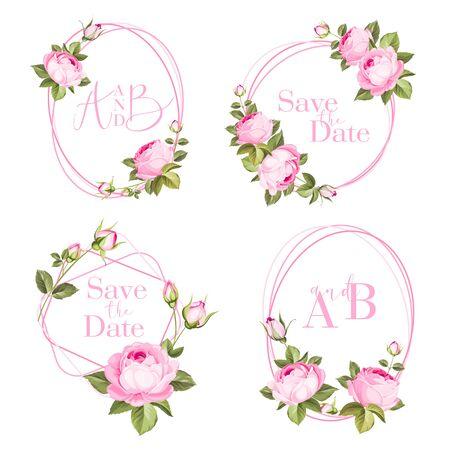Photo pour Bundle of cards with flower rose, leaves. Wedding ornament concept. Floral poster, invite. Vector decorative greeting card, invitation design background. - image libre de droit