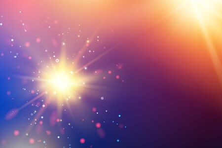 Illustration for Bright fire sparks over deep ultraviolet space background. Cosmic sunrays for futuristic travel design. Vector illustration. - Royalty Free Image