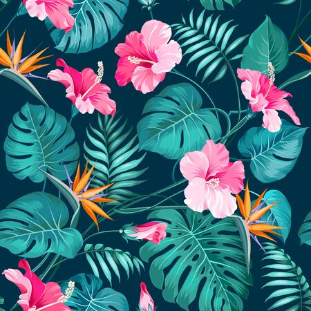 Illustration for Blossom flowers for seamless pattern background. Tropical flower fashion pattern. Tropic flowers for nature background. Vector illustration. - Royalty Free Image