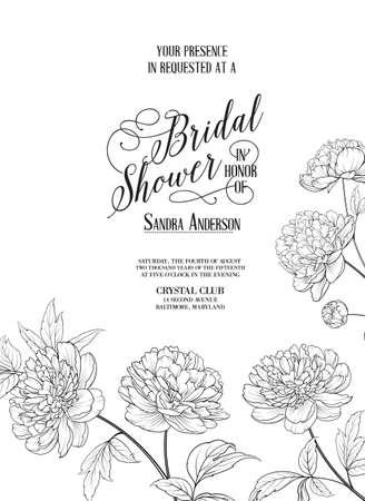 Illustration pour Bridal Shower Vertical Card announcement. Line contour of flowers. - image libre de droit