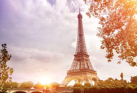 Photo pour Eiffel Tower from Seine river, Paris, France. - image libre de droit