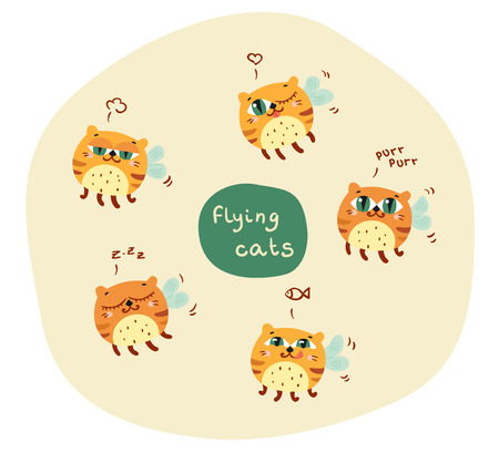 set of cute abstract flying cats. vectro illustration