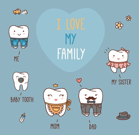 Happy family teeth set. Dental collection for your design. Vector cartoons. Illustration for children dentistry and orthodontics. I love my family message. Mom, dad, sister and brother, baby tooth.のイラスト素材