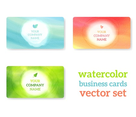 Set of business cards with watercolor background. Vectorillustration. Watercolor on wet paper.