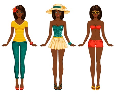 Female body proportions. African American ethic. Stylish dressed woman with long dark hair. Brunette.