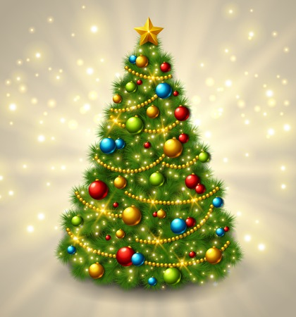 Christmas tree with colorful baubles and gold star on the top. Vector illustration. Glowing festive background with light beams and sparks.