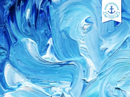 Illustration for Oil painted background. Vector illustration.  Abstract backdrop. Blue water waves painted in oil. - Royalty Free Image