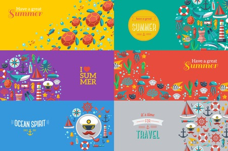 Summer Banners with marine symbols. Vector illustration. I love summer. Summer concept. Sea leisure sport.