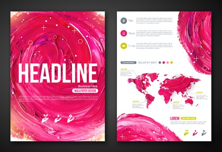 Business Poster or Flyer Template with paint abstract pink background. Vector illustration. Typographic template for your text. Woman beauty, health, spa, fashion theme.