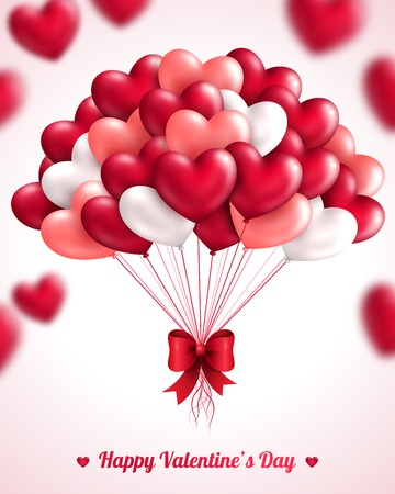 Foto de Valentine\'s day background with heart balloons. Vector illustration. Bunch of pink and red balloons. Festive background for Mothers day or Womans Day. - Imagen libre de derechos