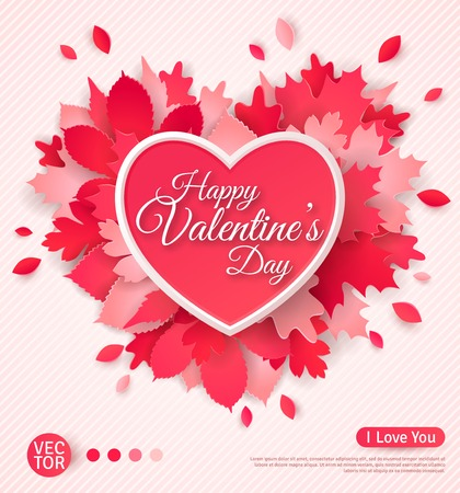 Foto de Beautiful greeting card with heart and leaves. Happy Valentine\'s day. Vector illustration. Typographic template for your text. Paper cut leaf heart with shadows. - Imagen libre de derechos
