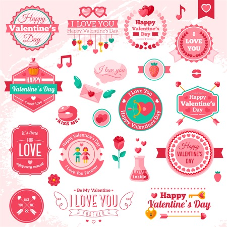 Set Of Vintage Happy Valentine\'s Day badges and labels.