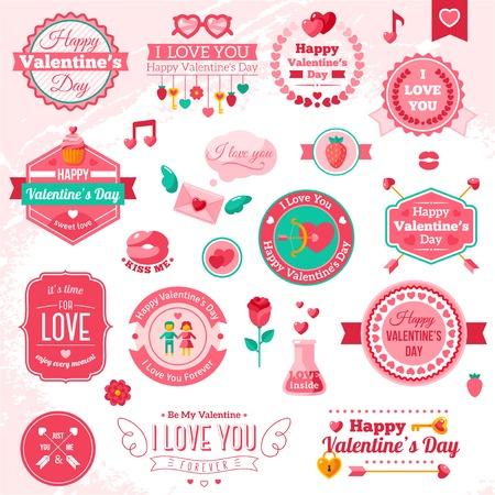 Foto de Set Of Vintage Happy Valentine\'s Day badges and labels. - Imagen libre de derechos