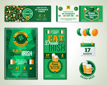 Set Of Happy St. Patrick\\\'s Day Greeting Card or Flyer. Patrick Day Menu Cover Design. Eat, Drink and be Irish.
