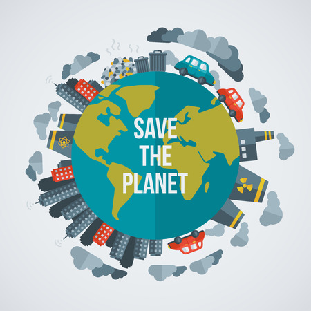Creative concept Save the Planet. Vector illustration. Dirty cities, factories, air pollution, landfill. Atomic plants. Save world. Save the planet. Save the Earth