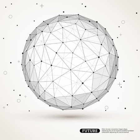 Wireframe mesh polygonal element. Sphere with connected lines and dots. Connection Structure. Geometric Modern Technology Concept. Digital Data Visualization. Social Network Graphic Concept