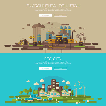 Green eco city with sustainable architecture and environmental pollution by factory toxic waste. Vector illustration banners set. Web banner and promotional material concept. Eco Technology.