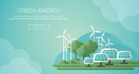 Ilustración de Ecology Concept Banner Template in Flat Design. Vector Illustration. Solar Panels and Wind Turbines - Green Energy Technology. Ecology, Environment and Pollution. Save the Earth. Think Green. - Imagen libre de derechos