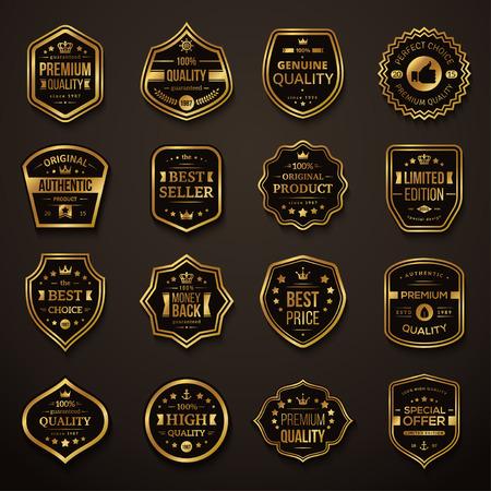 Illustration pour Set of Retro Gold and Black Premium Quality Badges and Labels. Vector Illustration. Quality Guarantee. Best Choice, Best Price, Original Product, Money Back Guarantee. Authentic Product. - image libre de droit