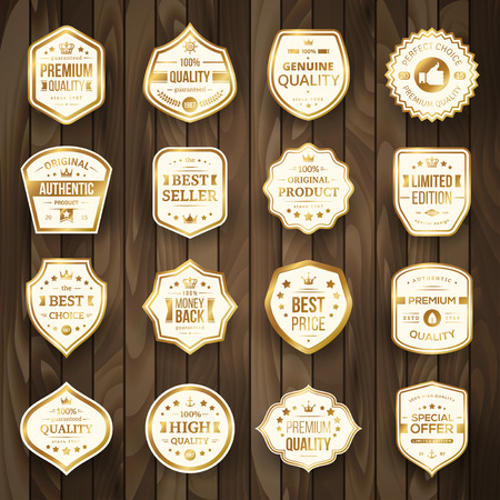 Illustration for Set of Retro Gold Premium Quality Badges and Labels on Wooden Background. Vector Illustration. Quality Guarantee. Best Choice, Best Price, Original Product, Money Back Guarantee. Authentic Product. - Royalty Free Image