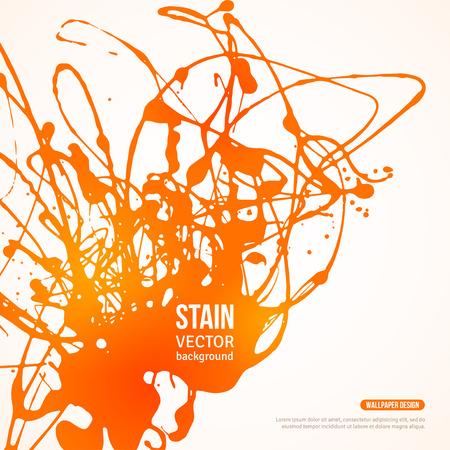 Splatter Paint Banner. Vector Illustration. Hot Summer Painted Background with Orange Acrylic Paint Splash.