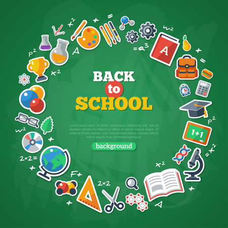 Back to School Frame. Vector Illustration. Flat School Icons on Chalkboard Textured Backdrop. Education Concept. Arts and Science Stickers