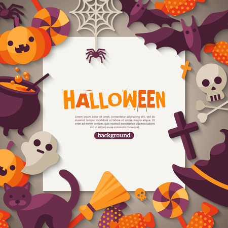Halloween Background. Vector Illustration. Flat Halloween Icons with Square Frame. Trick or Treat Concept. Orange Pumpkin and Spider Web, Witch Hat and Cauldron, Skull and Crossbones.