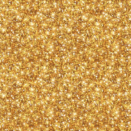 Gold Glitter Texture, Seamless Sequins Pattern.  Lights and Sparkles. Glowing New Year or Christmas Backdrop. Golden Dust.