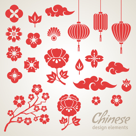 Illustration pour Chinese Decorative Icons - Clouds, Flowers and Chinese Lights. Vector Illustration. Sakura Branch. Peony Flowers. Chinese Lantern. - image libre de droit