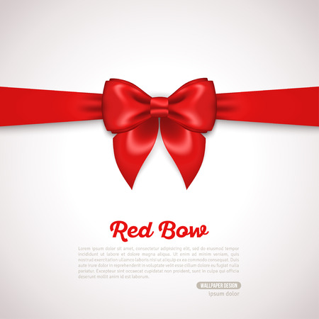Gift Card Design with red Bow with Place for Text. Vector Illustration. Invitation Decorative Card Template, Voucher Design, Holiday Invitation Design.