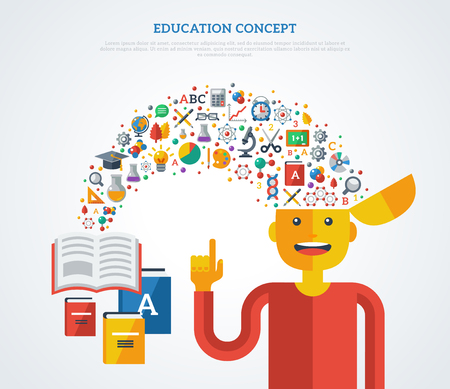 Creative concept of education. Vector illustration. Boy student with school icons and symbols flying from books into his head. Back to school. Learning process.