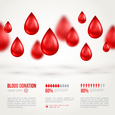 Donor Poster or Flyer. Blood Donation Lifesaving and Hospital Assistance. Vector illustration. World Blood Donor Day Banner. Creative Blood Drop. Medical Design Elements.