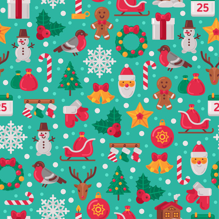 Illustration pour Seamless Pattern with Christmas Flat Icons. Vector Illustration. Christmas Tree and Snowflakes, Santa Claus, Candy Cane, Gifts for Winter Holidays Design. Wrapping Paper Texture. - image libre de droit