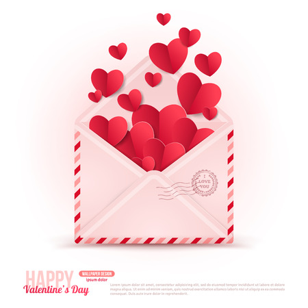 Happy Valentine\'s Day Envelope with Paper Hearts Flying Away.