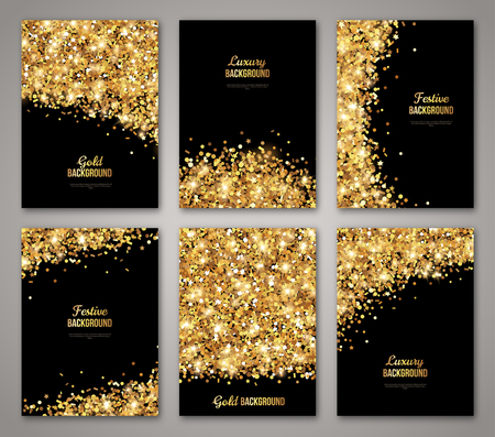 Ilustración de Set of Black and Gold , Greeting Card  Design. Golden Dust. Illustration. Happy New Year and Christmas Posters Invitation Template. Place for your Text Message. - Imagen libre de derechos