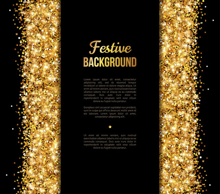 Ilustración de Black and Gold Banner, Greeting Card Design. Golden Dust. Vector Illustration. Happy New Year and Christmas Poster Invitation Template. Place for your Text Message. - Imagen libre de derechos