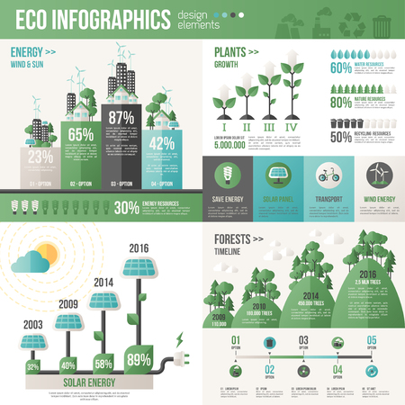 Ilustración de Ecology Infographics. Vector illustration. Environmental template with flat icons. Environmental protection and Pollution. Go green. Save the planet. Earth Day. Creative concept of Eco Technology. - Imagen libre de derechos