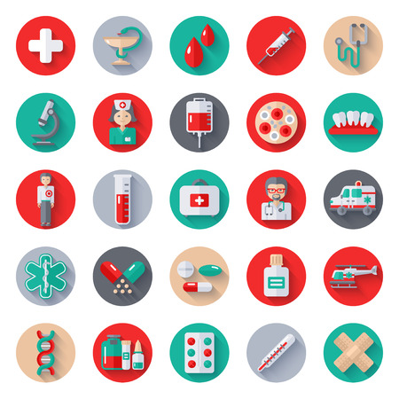 Set of Flat Medical Icons on Circle with Long Shadow. Vector Illustration. Nurse and Doctor, Caduceus Symbol, Ambulance Car, Helicopter, Blood Bag, Blood Donation, Medical Lab, Pharmacy Pills, Drugs