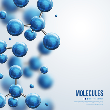 Ilustración de Abstract molecules design. Vector illustration. Atoms. Medical background for banner or flyer. Molecular structure with blue spherical particles. - Imagen libre de derechos