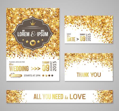 Set Of Wedding Invitation Cards Design Gold Confetti And