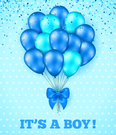 Ilustración de It's a Boy, Baby Shower Background. Vector illustration. Blue Cute Greeting Card with Bunch of Balloons, Bow Ribbon. Polka Dots Backdrop, Confetti Salute. Party Invitation. - Imagen libre de derechos