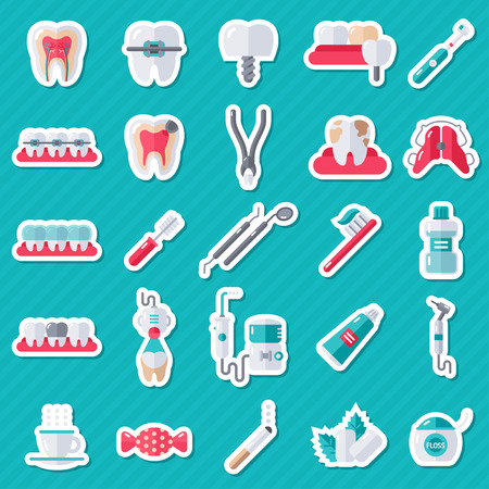 Illustration pour Dental Flat Sticker Icons Set. Illustration for Dentistry and Orthodontics. Stomatology Equipment, Dentist Tools, Toothbrush and Toothpaste, Teeth Cleaning, Implants - image libre de droit
