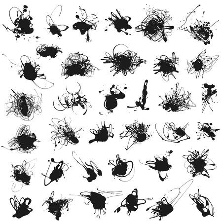 Illustration pour Set of splatter paint stains isolated on white. Illustration. Acrylic splash, ink spots silhouettes. - image libre de droit