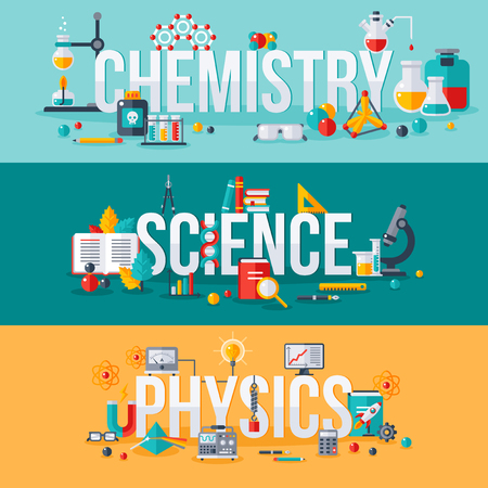 Ilustración de Chemistry, science, physics words with flat scientific icons. Vector illustration concept horizontal banners set. Typography posters design - Imagen libre de derechos