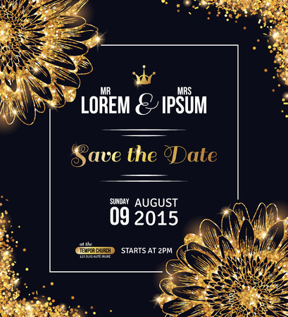Ilustración de Wedding invitation card design. Gold confetti with flowers and black background. Vector illustration. Save the date. Typographic template for your text with square frame. Glittering dust. - Imagen libre de derechos