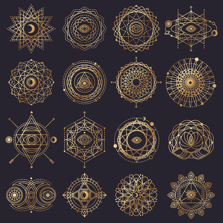 Illustration pour Sacred Geometry Forms with Eye, Moon, Sun. Vector illustration. - image libre de droit